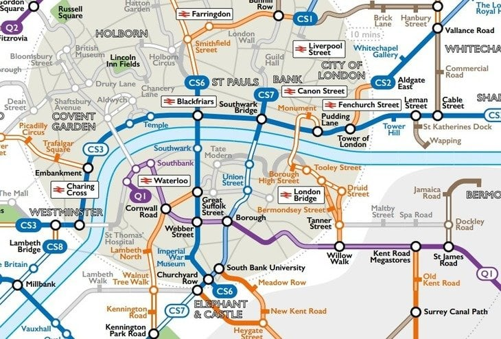 tube map for cyclists